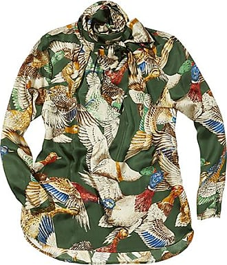Franken & Cie. Blouse silk, flying ducks