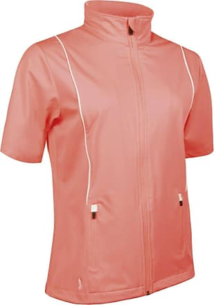 Glenmuir Ladies LW2538 Zip Front Half Sleeve Piping Detail Wind Jacket Coral Punch/White S