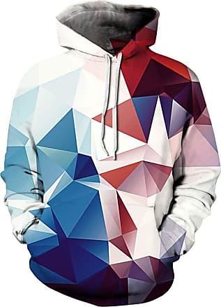 Ocean Plus Mens Hoodie 3D Graphic Hoodie with Kangaroo Pocket Hoody Sweat Hood Sweatshirts (L/XL (Chest: 114-134CM), Blue red Geometric 3)