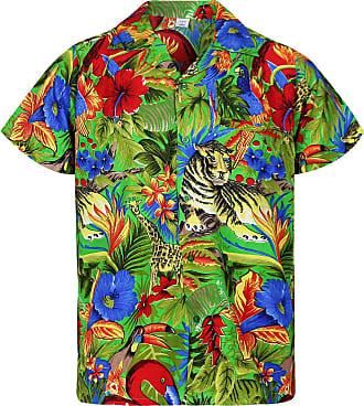 V.H.O. Funky Hawaiian Shirt, Shortsleeve, Jungle, Green, 11XL