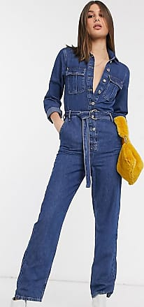 Topshop Tall utility boilersuit with belt in mid wash-Blue