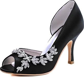 Elegantpark HP1542 Wedding Heels for Women Peep Toe Bridal Shoes High Heels Satin DOrsay Rhinestone Evening Party Shoes Court Shoes Black UK 6