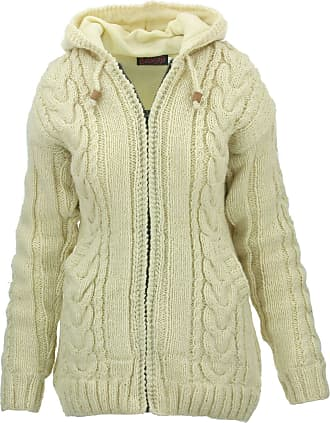 Loud Elephant Wool Cable Knit Hooded Jacket - Cream (Small)