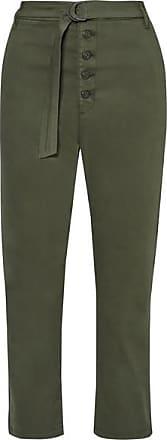 3x1 Vic Cropped Stretch-cotton Straight-leg Pants - Army green