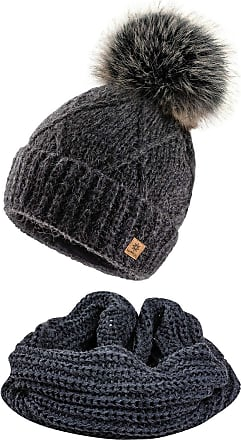 4sold Womens Ladies Beanie Scarf & Hat Pom Pom Warm Winter Natural Wool Mohair Lining Full Cosy Fleece Liner - Set Birma Dark Grey