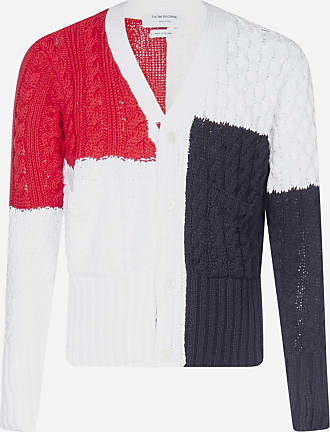 Thom Browne Cardigan color-block in cotone a trecce - THOM BROWNE - uomo