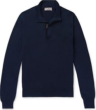 Canali Suede-trimmed Cotton Half-zip Sweater - Navy