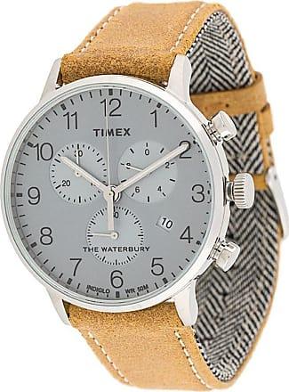 Timex Relógio Waterbury Classic Chronograph 40mm com pulseira de couro - Neutro