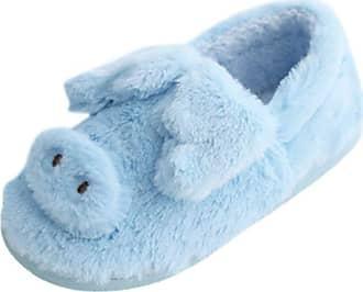 Yvelands Women Casual Winter Warm Soft Anti-Slip Bedroom Plush Slippers Indoor Cotton Slipper Boots Blue