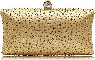 YYW Fashion Womens Glitter Clutch Bag Crystal Diamante Rhinestone Sparkly Evening Bridal Prom Party Handbag Purse (Gold)