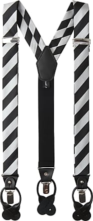 Jacob Alexander Mens College Stripe Y-Back Suspenders Braces Convertible Leather Ends and Clips - Silver Black