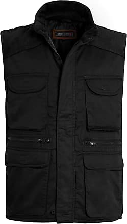 Shelikes Mens Gilet Waistcoat Safari Multi Pocket Country Clothing Padded Waistcoat Zip Top[Black, 2XL(Chest 46 in)]