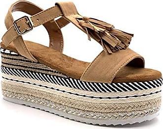 7dc90c011daa57 Angkorly Damen Schuhe Sandalen Espadrilles - Vintage Retro - Plateauschuhe  - Strand - Fransen -