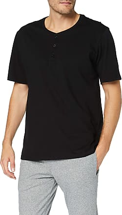Schiesser Mens Mix & Relax T-Shirt Knopfleiste Pyjama Top, Black (Black 000), XXX-Large