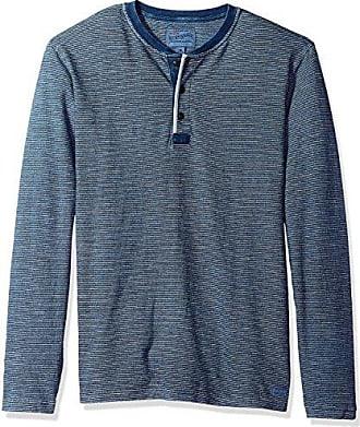 Lucky Brand Mens Casual Long Sleeve 3 Button Henley T Shirt, Indigo, S