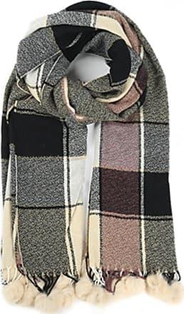 Your Dezire YDezire Check Pattern Tartan Pom Pom Scarve Large Shawl Winter Scarf Celebrity Style Wraps (Black-Beige)