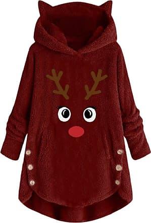 Yvelands Christmas Hoodie for Women Ladies Xmas Embroidery Reindeer Printed Button Hooded Sweatshirt Pullover Jumper Winter Faux Fleece Teddy Bear Coat Outwear