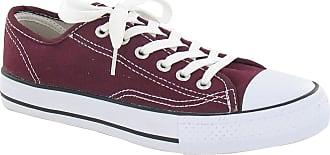 Spot On Ladies Canvas Lace Shoes - Burgundy Canvas - UK Size 6 - EU Size 39 - US Size 8