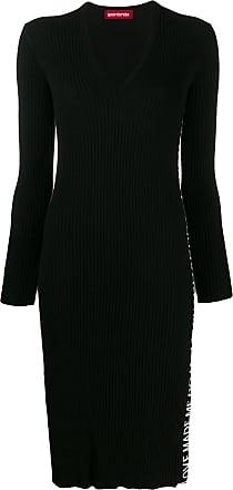 Guardaroba Vestido de tricô com estampa de logo - Preto