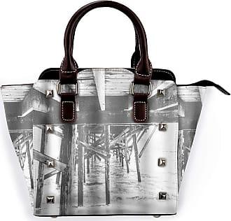 Browncin Ocean Vintage Wooden Bridge Theme Coastal Scene Detachable Fashion Trend Ladies Handbag Shoulder Bag Messenger Bags