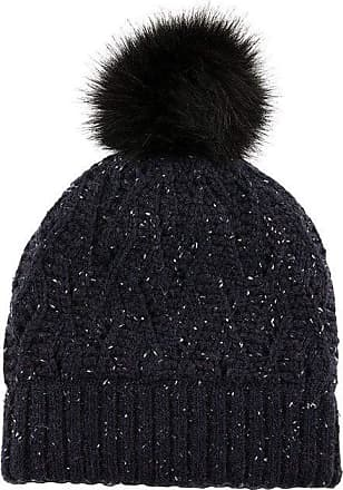 Dents Womens Lace Knit Marl Hat with Pom Pom - Navy One Size Navy