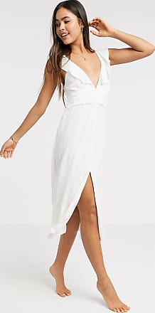 River Island lace frill sleeve midi beach dress in white