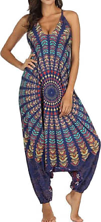 H&E Womens Loose Drop Crotch Backless Print Yoga Long Rompers Jumpsuits Dark Blue One-Size