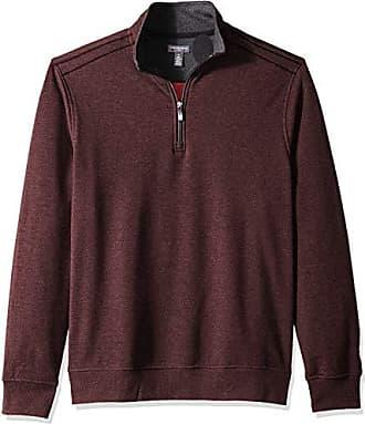 Van Heusen Mens Flex Long Sleeve 1/4 Zip Soft Sweater Fleece, Red Merlot, XX-Large