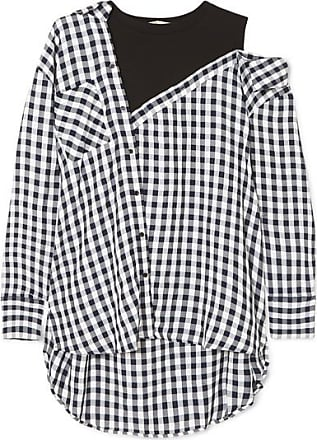 Maje Layered Gingham Crepe And Cotton-blend Jersey Blouse - Black