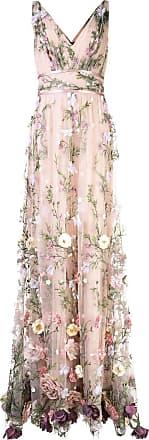 Marchesa V-neck floral appliqué gown - NEUTRALS