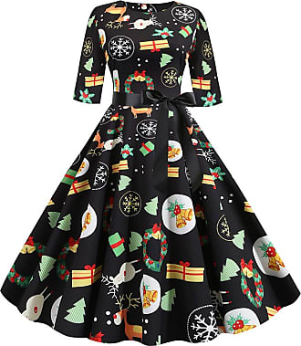 FeelinGirl Women Plus Size Evening Dress Round Neck Half Sleeve Bow-Knot Christmas Dress Snowman Elk Printing Ball Gown Prom Party Festival Dress Mix Color XL