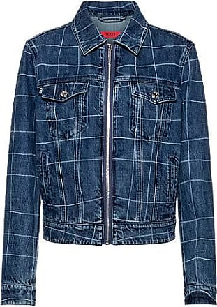 HUGO BOSS Relaxed-fit denim jacket with check pattern