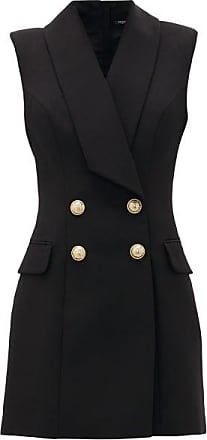 Balmain Double-breasted Wool Blazer Dress - Womens - Black