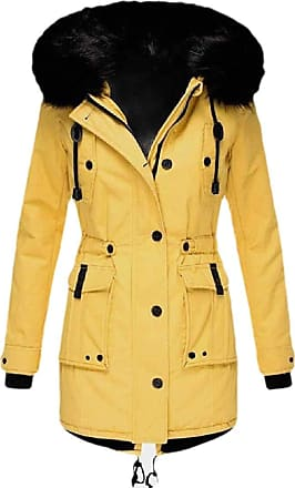 VITryst Womens Winter Coats Hooded Warm Faux Fur Lined Jacket Outwear Parka Anroak Long Coats,Yellow,XX-Small