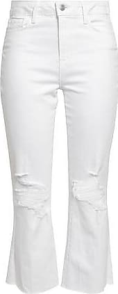 L'agence Lagence Woman Distressed High-rise Kick-flare Jeans White Size 29