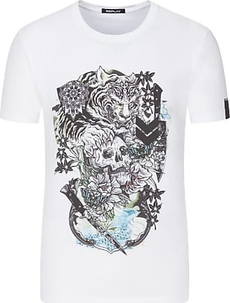Replay Übergröße : Replay, T-Shirt mit Frontprint in Weiss für Herren