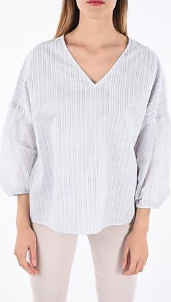PESERICO Silk and Cotton Pinstripe Blouse Größe 38
