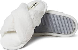 Dearfoams Womens Jessica Furry Crossband Slide Slipper, Alabaster, XL