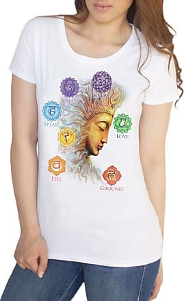 Irony Womens T-Shirt Buddha Chakra OM -Know, Feel, Strive, Love- Symbols Geometric Design TS904 (XLarge) White