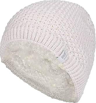 Heat Holders Ladies Crochet Knit Style Fleece Lined Warm Thermal Winter Beanie Hat (One Size, Cream (Nora))
