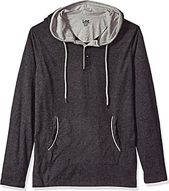 Lee Mens Long Sleeve Pull Over Hoodie, HTH/Charcoal, Large