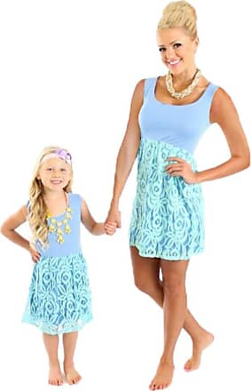 YOUJIA Mom and Daughter Skirt Sleeveless Boho Comfortable Lace Stitching Dress Mom Kids Matching Outfits, Blue M (mom)