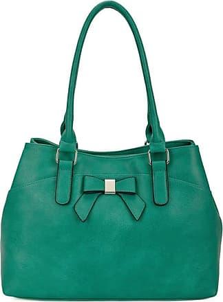 LeahWard Womens Bow Shoulder Bags Large School Handbags R08 (Emerald Bow)
