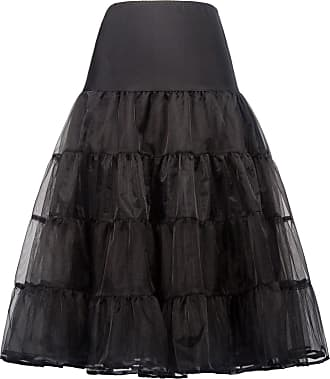 Grace Karin Ladies Long Half Slips A-Line Rockabilly Evening Wedding Petticoat Underskirt Black XL