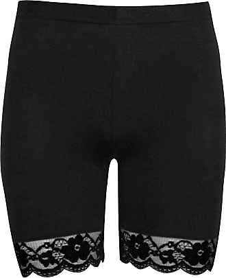 The Celebrity Fashion Momo&Ayat Fashions Ladies Viscose Scallop Lace Cycling Hot Pants Shorts UK Size 8-26 (Black, L/XL (UK 16-18))