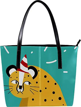 Nananma Womens Bag Shoulder Tote handbag Zipper Purse Top-handle Zip Bags - Cute Animals Party Hats Cartoon Leopard