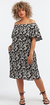 e8b573f527d MS Mode Damen Schulterfreies Kleid mit Rüschen Schwarz