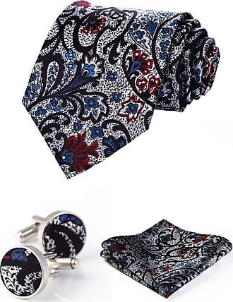 Hisdern Mens Paisley Floral Wedding Silk Neck Tie and Pocket Square Cufflinks 3pcs Set