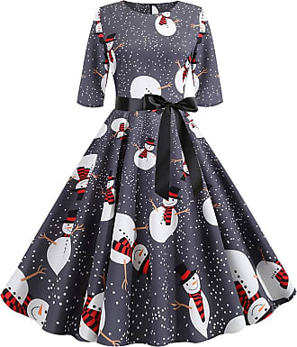 FeelinGirl Ladies Plus Size Evening Dress Round Neck Half Sleeve Bow-Knot Christmas Dress Snowman Printing Ball Gown Prom Party Festival Dress Mix Color XXL