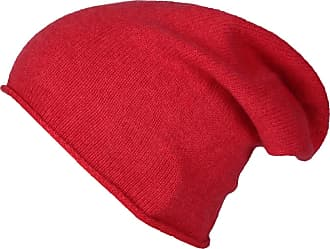 Zwillingsherz Slouch 100% Cashmere Beanie Knit hat for Girls/Boys - Beanie - Unisex - One Size fits All - Warm and Soft in Summer, Fall and Winter (red)
